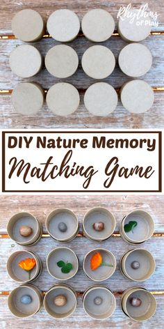 This DIY nature memory game is an educational matching game and sensory activity for kids preschool age and up. Playing this easy game helps children develop focus, memory, and recognition skills. It can also be used to teach math and science concepts dep