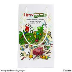 Merry Birdmess Small Gift Bag. A drawing of funny parrots plotting to redecorate their holiday tree. Perfect gift idea for parrot parents, bird lovers, crazy bird lady and man, especially those who own blue fronted amazon parrot, afgrey parrot, blue and gold macaw, senegal parrot. #merrychristmas #happyholiday #christmastree #parrots #bluefrontedamazonparrot #afgreyparrot #blueandgoldmacaw #senegalparrot #funnybirdcomic #funnyparrottext #crazybirdlady #birdlovers #birdchristmas