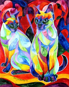 Siamese Sweethearts by Sherry Shipley - Siamese Sweethearts Painting - Siamese Sweethearts Fine Art Prints and Posters for Sale