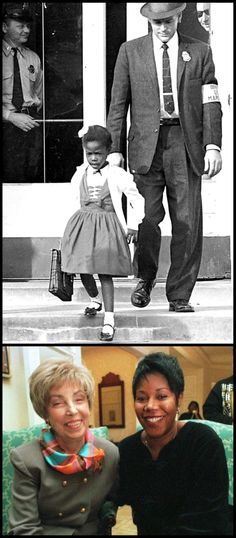1960: 6-year-old Ruby Bridges was the first black child in the South to attend a white school after the forced integration of Brown vs. Board of Education. Ruby faced death threats and intense bullying with courage and grace in the name of helping forge the path of the civil rights movement. Teachers at William Frantz School refused to accept the 6-year-old as a student. Ms. Henry was the only teacher willing to teach Ruby.  Barbara Henry with Ruby Bridges 40 yrs later.