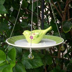 Vintage repurposed glass plate bird feeder by ARTfulSalvage, $31.00