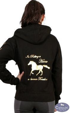In Riding a Horse we borrow Freedom - Zip Hoodie. A zip up equestrian Sweatshirt with gold metallic print and a hoof print sleeve design Rodeo Outfits, Equestrian Outfits, Country Outfits, Cool Outfits, Equestrian Fashion, Horse Fashion, Hoodie Sweatshirts, Zip Hoodie, Barrel Racing Outfits