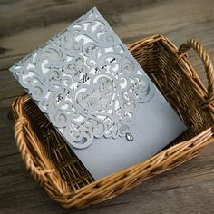 silver laser cut rhinestone wedding invites EWWS068