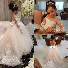 Adorable Lace Ball Gown Flower Girl Dresses For Weddings,Little Girls Pageant