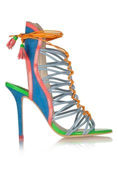 Sophia Webster|Lacey Baby color-block suede and patent-leather sandals|NET-A-PORTER.COM