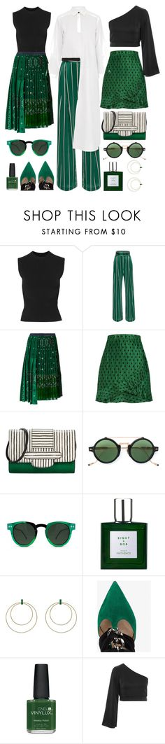 """Green with Envy"" by cherieaustin ❤ liked on Polyvore featuring Alaïa, Sacai, Michino Paris, Jacques Marie Mage, Spitfire, Eight & Bob, Ileana Makri, Valentino, CND and Topshop"