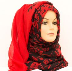 Floral Ombre Hijab - Black & Red    Available at www.hijabbella.com