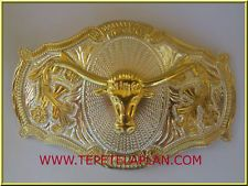 NEW BIG WESTERN OVAL BULL RODEO COWBOY HORN BELT BUCKLE