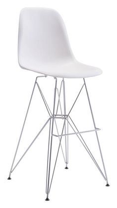 Zip Bar Chair in White Polypropylene on Chrome Base