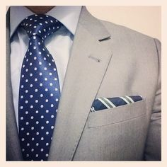 Tied Together www.tiedtogether.com.au Beyond blue tie with matching pocket square and tailored grey suit!
