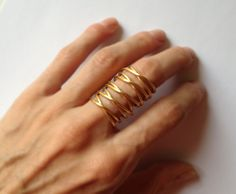 24K gold plated bronze armor ring statement by katerinaki1977