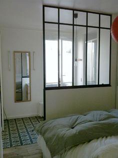 Interior veranda between the bedroom and the bathroom. - Verrières-d'intérieur - Ghislain Steel Doors, Sweet Home, Windows, French, Mirror, Bedroom, Interior, Design, Between