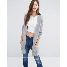 Brave Soul Longline Cardigan ($38) ❤ liked on Polyvore featuring tops, cardigans, grey, gray open front cardigan, grey top, pocket cardigan, grey open front cardigan and gray top
