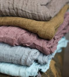 French Linen Scarves - gray, mustard, mauve, heather blue