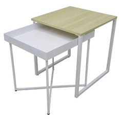 Room Essentials® Nesting Tables. Spray paint wooden part gold, and legs of smaller table gold, as well.