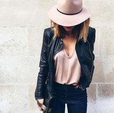 Pale pink, black leather jacket