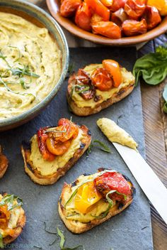 Basil Pesto Hummus and Roasted Tomato Crostini recipe
