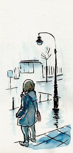 Giboulées davril - Vers la Coulée Verte, Paris [ #DRAWING ] April showers - Around la Coulée Verte, #Paris http://www.lescarnets.fr/sketch.php?id=1074 #art #travel