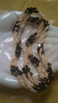 Pearl Amethyst & Hematite Bead Long Necklace