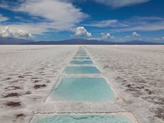 Las Salinas Grandes is a massive salt desert in Argentina. The 2,300-square-mile field is filled with pools of water created by mining companies that harvest salt there.