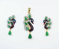 Designer Peacock Pendant Earring set
