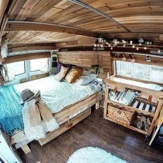 I love the camper van build here! It has cool rustic layout made of cedar panels on the ceiling and recycled wood shelving. The perfect campervan! I want an interior like this! campers and rv How To Design Your Camper Van Layout Camping Car Van, Camping Diy, Camping Glamping, Camping Recipes, Camping Outdoors, Kombi Motorhome, Camper Trailers, Rv Campers, Cedar Paneling