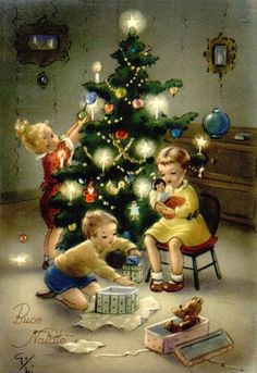 Vintage Christmas Card - for More> https://www.pinterest.com/jodyclaus1/vintage-christmas-scenes/   9/268/17 sch