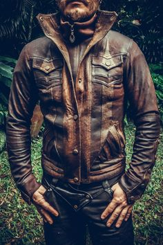 Our all new Alloy jacket is made from only the finest leather, intricately paneled and detailed with our signature hand-carved Anahata button snaps. Features a double closed front enclosure with a zip
