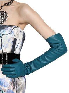 Dear god yes!  Lanvin Long Leather Gloves in Blue (peacock)