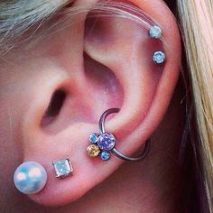 double lobes, conch #piercing and double helix. #EarPiercings