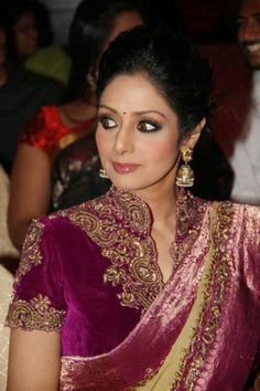 Indian film actress Sridevi Kapoor at Women Awards 2014 in Hyderabad. She looks beautiful in cream georgette saree teamed with purple . Bridal Blouse Designs, Blouse Neck Designs, Pakistani Bridal, Indian Bridal, Indian Dresses, Indian Outfits, Indian Clothes, Lehenga Skirt, Party Wear Sarees