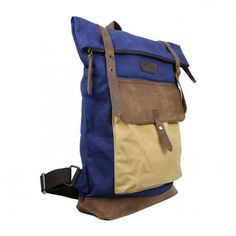 Ben Backpack in Canvas and Leather - Blue by Ketty Long