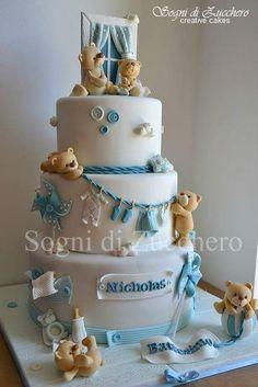 beautiful baby shower cake for baby boy Torta Baby Shower, Baby Boy Cakes, Cakes For Boys, Teddy Bear Baby Shower, Baby Boy Shower, Gateau Baby Shower Garcon, Teddy Bear Cakes, Teddy Bears, Cute Cakes