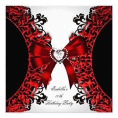 Red Diamond Heart Red Black White Birthday Party Custom Invites invitations Birthday invitations by zizzago.com