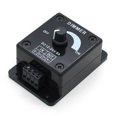 Black LED Dimmer Switch DC 12V 24V 8A Adjustable Brightness Lamp Bulb Strip Driver Single Color Light Power Supply Controller