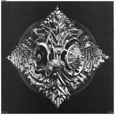 XIIme Congrés Postal Universel: illustration, 1947 by M.C. Escher. Op Art. illustration