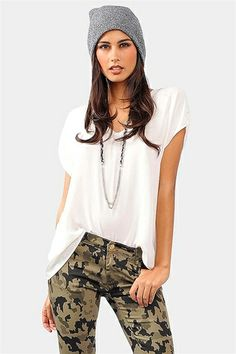 Back To Basic Top - Ivory  Paired great with wide leg jeans or skinny