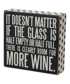 Look at this 'More Wine' Box Sign on #zulily today!