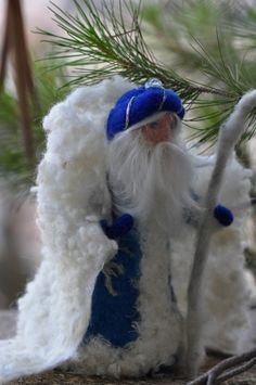 Needle felted Waldorf King Winter standing by darialvovsky on Etsy, $58.00