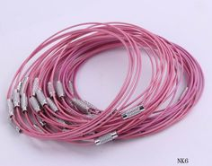 $1.11  9 Inches Pink Stainless Steel Wire Loop Bracelet Findings Beading