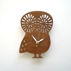 Modern Baby Owl clock  Maple Veneer Dark Stained by decoylab