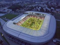 'For Forest – The Unending Attraction of Nature' by Klaus Littmann has transformed the Wörthersee Stadium in Klagenfurt into Austria's largest public art installation Klagenfurt, Soccer Stadium, Football Stadiums, Austria, Transformers, One Of Us, Art Intervention, Europe Centrale, Art Public