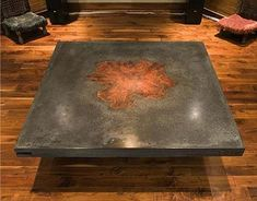 Concrete table with wood inlay. The wood has been embedded in the surface of the concrete top to give it this unique appearance. Concrete Furniture, Concrete Table, Concrete Wood, Concrete Projects, Concrete Design, Concrete Countertops, Furniture Projects, Home Projects, Diy Furniture