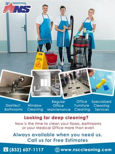 Now is the time to clean your floors, bathrooms or your Medical Office more than ever! Text or call us at (832) 607 - 1117 for a Deep Disinfecting Cleaning!  www.nsccleaning.com #HoustonCommercialCleaning #HoustonJanitorialCleaning Commercial Cleaning Services, Janitorial Services, Missouri City, Cleaning Business, How To Clean Furniture, Bathroom Cleaning, Deep Cleaning, New Construction, Floors