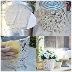 Pot de fleurs en galets
