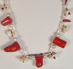 Coral and shell necklace coral and pearl red white by FleurDeIrk