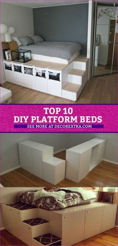 Top 10 DIY Platform Beds, Place Your Bed On A Raised Platform. DIY Platform Beds, Platform Bed DIY Ideas Amazing DIY platform beds to make a beautiful bed frame with storage! Bedroom Storage For Small Rooms, Diy Storage Bed, Bed Frame With Storage, Bed With Shelves, Bedroom Storage Ideas Diy, Best Storage Beds, Bedding Storage, Beds For Small Rooms, Platform Bed With Storage