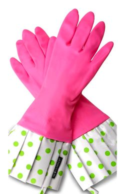 Pink & Green Glove Give cleaning new meaning with chic and stylish gloves, dressed up in dotted or damask ruffles.    These gloves are waterproof, thicker than standard rubber gloves, and tough enough to protect your manicure while cleaning, dish washing and even gardening. Flirty Aprons kitchen gloves are lined to prevent irritation and sweating and are equipped with a handy hang tab. wwww.flirtyaprons.com