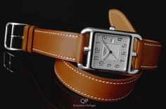 A stylish #bracelet and #watch in one; the #Hermès #Cape #Cod #Ladies is quite stunning. The lovely curvature of the case and its matching curved numerals make it striking, as does the #beautiful #leather #strap that wraps around the #wrist twice!