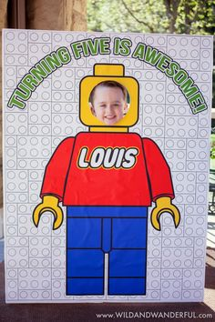 Boys Lego Themed Birthday Party Photo Booth Ideas